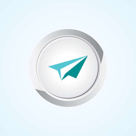 Icon of (Paper Plane) Send on Button. Eps-10. Vector