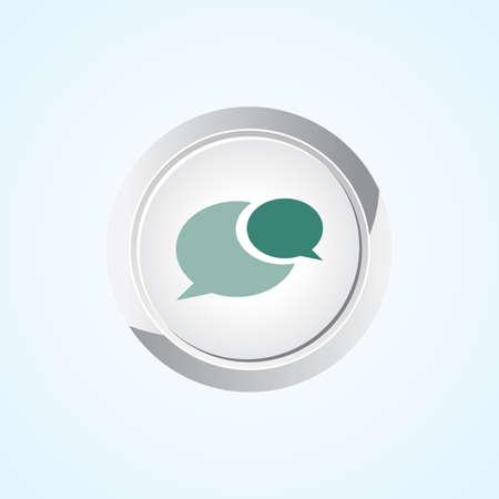 Speech Bubble icon on button Eps-10. Vector