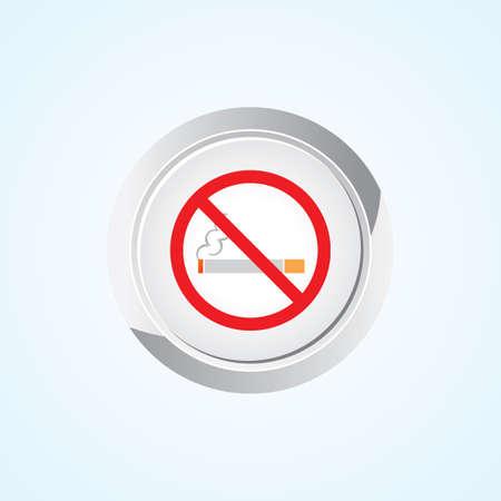 abstain: Icon of No Smoking on Button. Eps-10. Illustration