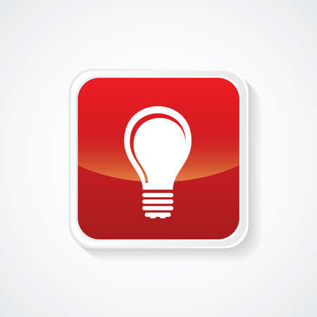 fluorescent lights: Icon of Idea Bulb on Red Glossy Button. Eps-10.