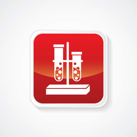 biochemistry: Icon of Biochemistry and microbiology equipment. Test tube on Red Glossy Button. Eps-10.