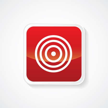 bulls eye: Icon of Bulls eye on Red Glossy Button. Eps-10.