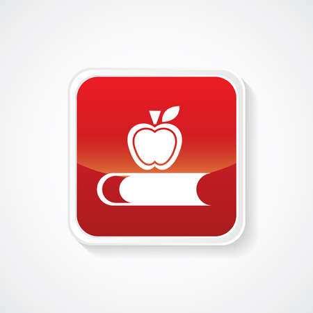 entered: Icon of Book & Apple (Knowledge) on Red Glossy Button. Eps-10.