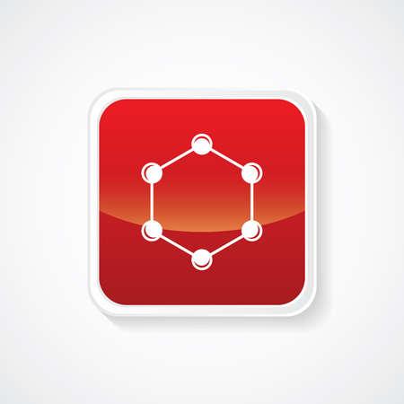 mediateur: Ic�ne sur le bouton rouge brillant. Eps-10. Illustration
