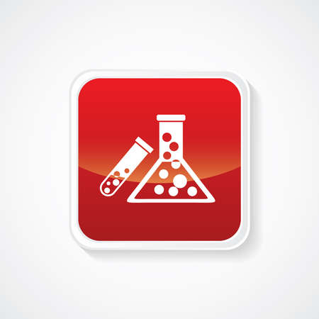 Icon of Biochemistry and microbiology equipment. Test tube & Beaker on Red Glossy Button. Eps-10. Illustration