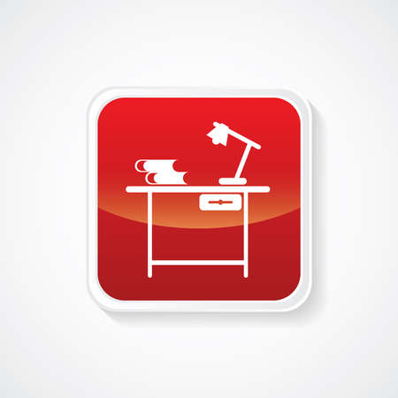 handwrite: Icon of Study Table on Red Glossy Button. Eps-10.