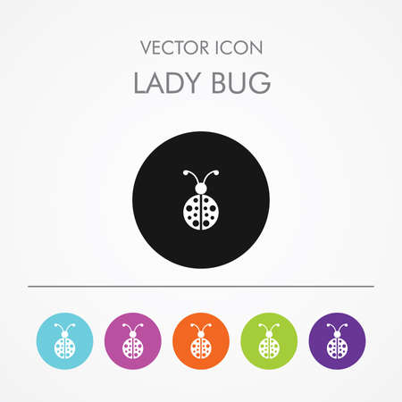 Very Useful Icon of lady bug On Multicolored Flat Buttons