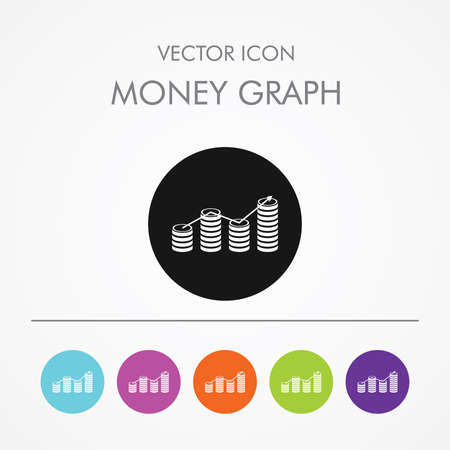 Very Useful Icon of Money Graph on Multicolored Round Buttons.