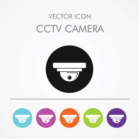 to rob: Very Useful Icon of CCTV CAMERA on Multicolored Round Buttons. Video surveillance.