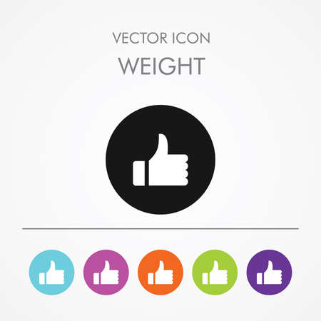 Very useful icon of Like on Multicolored Round Buttons. Illustration