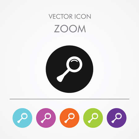 scrutiny: Very Useful Icon of Search-Zoom On Multicolored Flat Round Buttons. Illustration