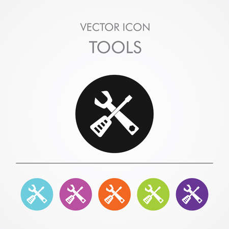 Very Useful Icon of Tools On Multicolored Flat Round Buttons.