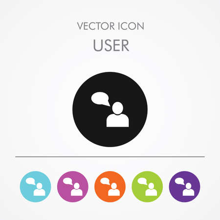 Very Useful Icon of User with speech bubble On Multicolored Flat Round Buttons. Vector