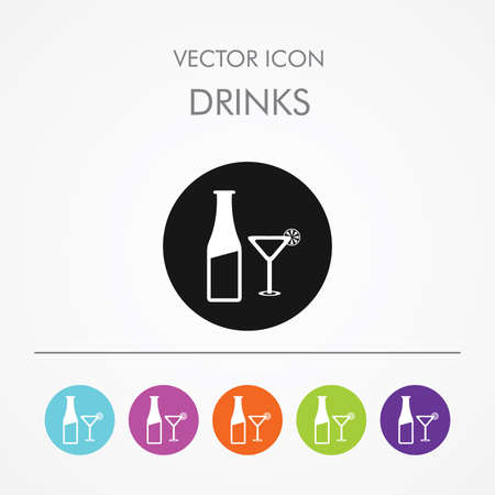 vermouth: Very Useful Icon of drinks On Multicolored Flat Buttons