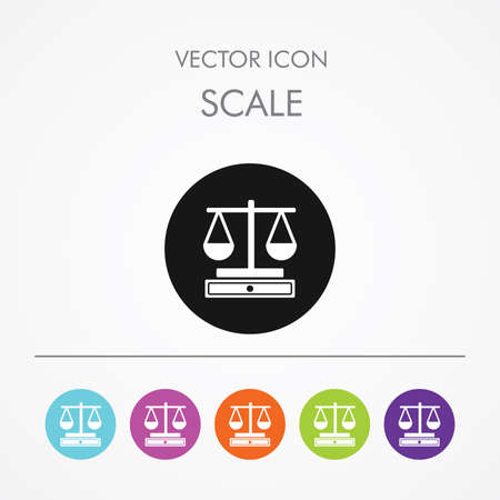 acquit: Very Useful Icon of Scale On Multicolored Flat Round Buttons.