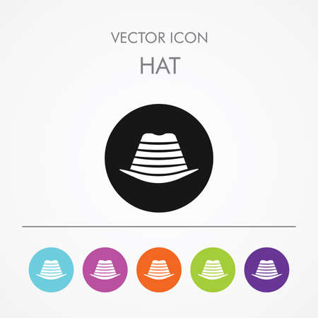 pent: Very Useful Icon of mens hat On Multicolored Flat Round Buttons.