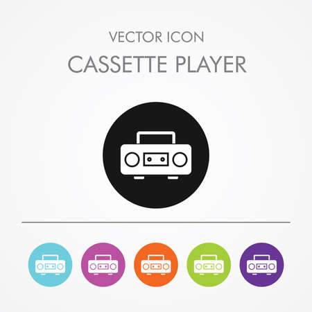 Very Useful Icon of cassette player On Multicolored Flat Buttons Vector
