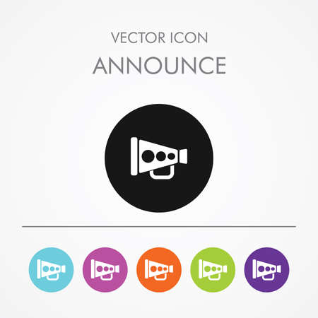to announce: Very Useful Icon of announce On Multicolored Flat Buttons