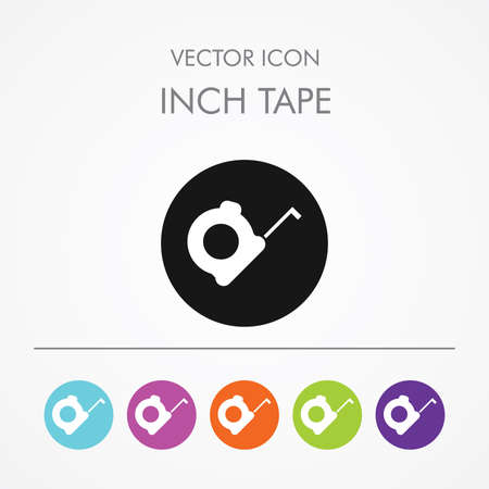 inch: Very Useful Icon of Inch Tape On Multicolored Flat Round Buttons. Illustration
