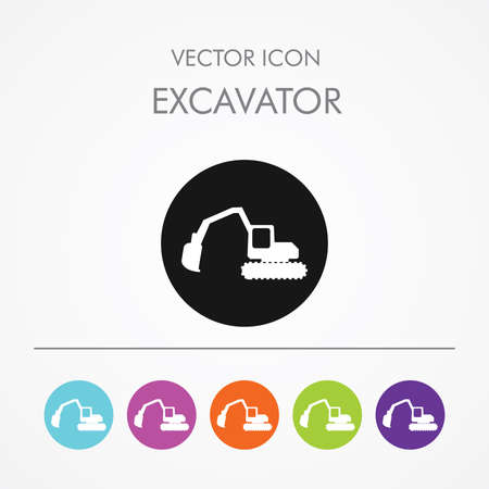 mine site: Very Useful Icon of excavator On Multicolored Flat Round Buttons.