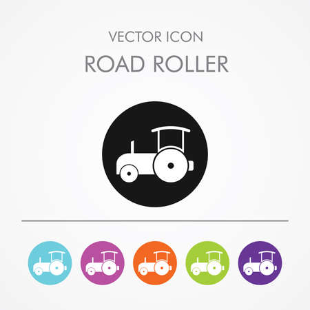 steamroller: Very Useful Icon of Road Roller On Multicolored Flat Round Buttons.
