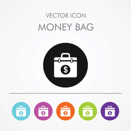 extortion: Very Useful Icon of Money Bag On Multicolored Flat Round Buttons.