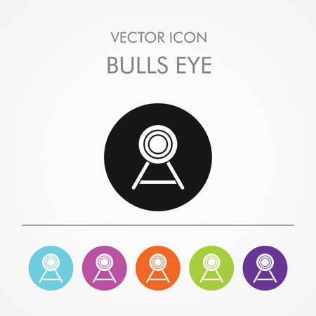 bull's eye: Very Useful Icon of bulls eye On Multicolored Flat Round Buttons. Illustration