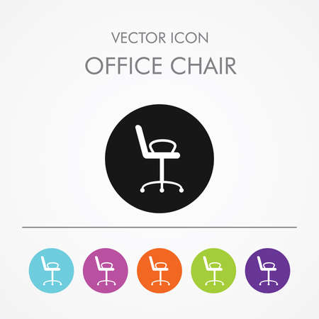Very Useful Icon of Chair On Multicolored Flat Round Buttons. Illustration