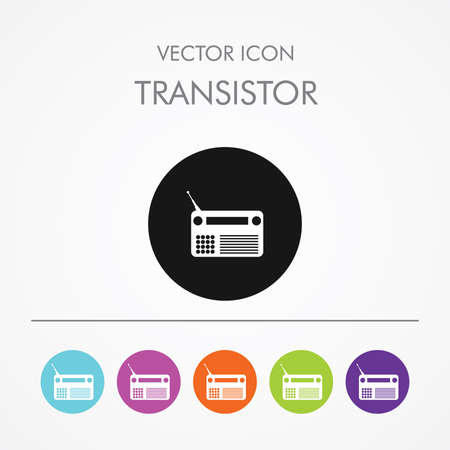 fm: Very Useful Icon of  transistor  On Multicolored Flat Buttons