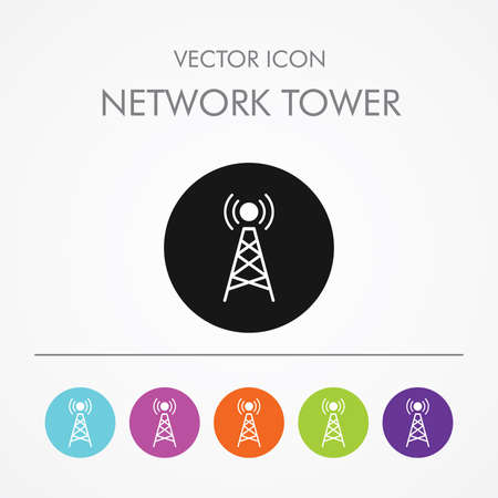 cellular repeater: Very Useful Icon of network tower On Multicolored Flat Buttons
