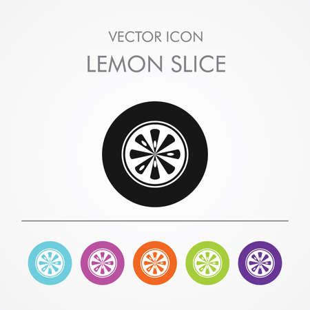 grapefruit juice: Very Useful Icon of  lemon slice On Multicolored Flat Round Buttons. Illustration