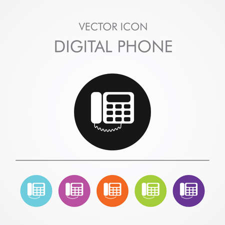 Very Useful Icon of Digital landline Telephone  On Multicolored Flat Round Buttons.