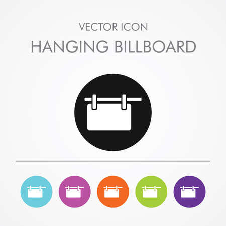 outdoor advertising construction: Very Useful Icon of   hanging billboard On Multicolored Flat Round Buttons. Illustration