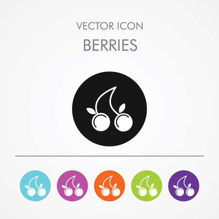 aquifolium: Very Useful Icon of  berries On Multicolored Flat Round Buttons. Illustration