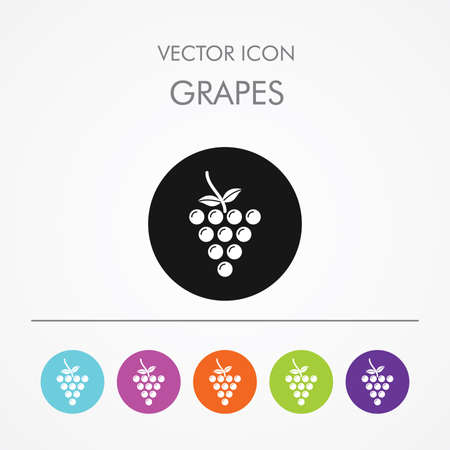 Very Useful Icon of  grapes On Multicolored Flat Round Buttons.