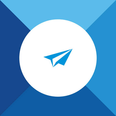 Send icon  on blue color background Vector