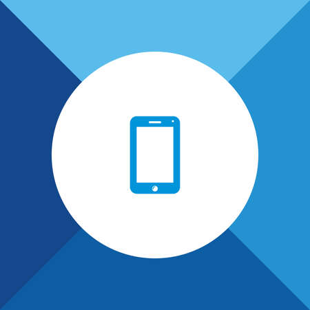 unzip: Mobile phone (Smart phone) icon  on blue color background