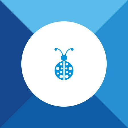 lady bug: Lady Bug-Symbol auf blaue Farbe Hintergrund
