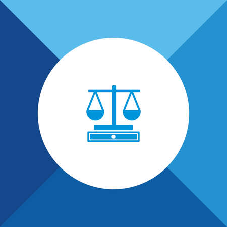 Justice Scale icon on blue color background