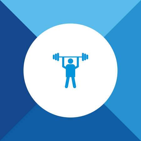 weight lifter: Weight lifter icon on blue color background