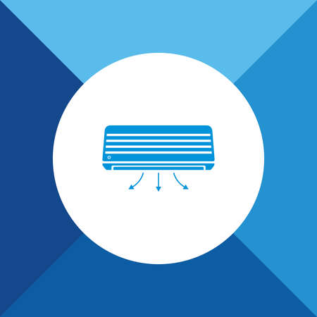 cold room: Air conditioner icon on blue color background