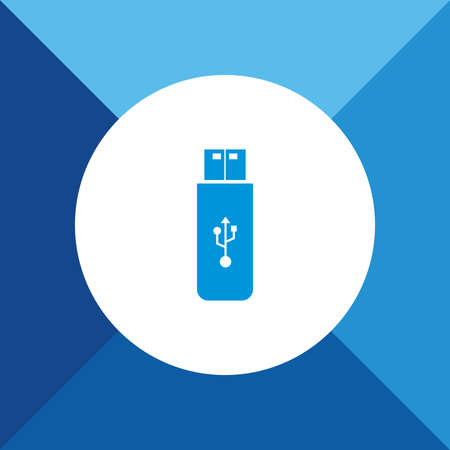 pendrive: Pendrive icon on blue color background