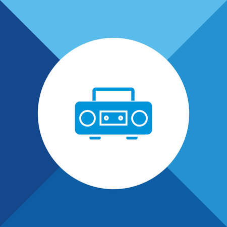 cd recorder: Cassette player icon  on blue color background Illustration