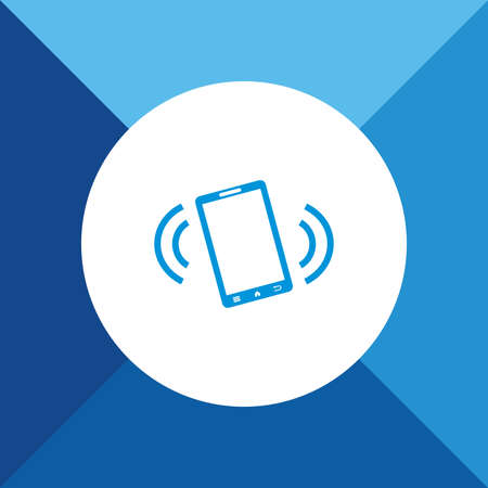 sign not to talk by phone: Phone On Vibration Mode Icon on Blue Background.