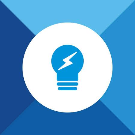 Bulb Icon on Blue Background.