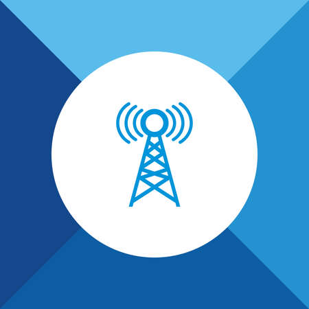 repeater: Tower Icon on Blue Background.