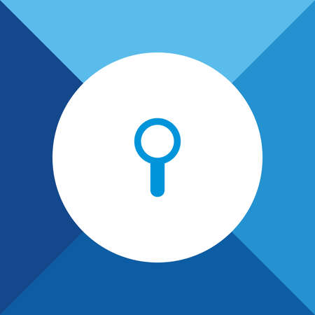 scrutiny: Zoom (Search) Icon on Blue Background.