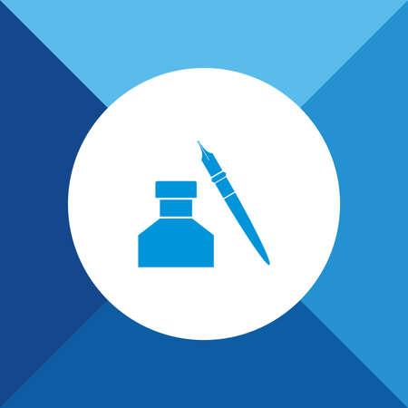 ink pot: Ink pot Icon on Blue Background.