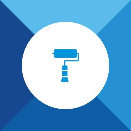 roller brush: Paint Roller Brush Icon on Blue Background.