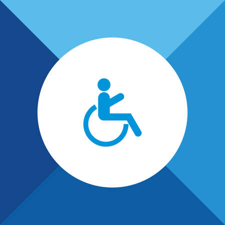wheel chair: Wheel Chair Icon on Blue Background.
